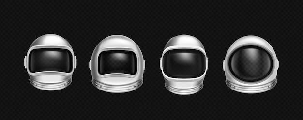 우주 탐사를위한 우주 비행사 헬멧 세트
