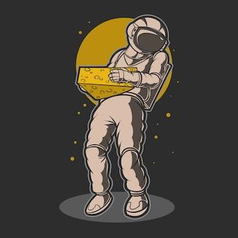 Астронавт держит иллюстрацию сыра