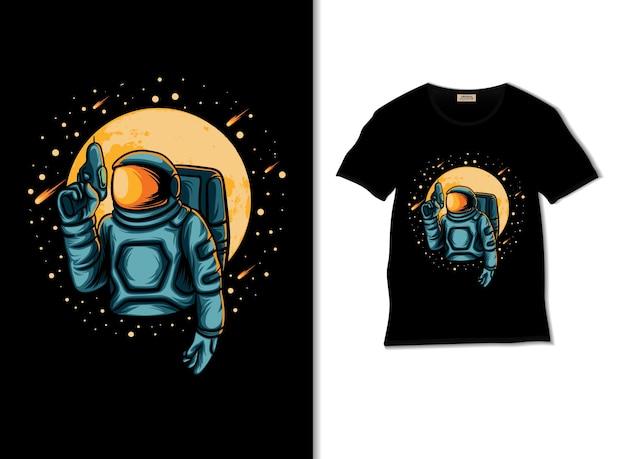 Tシャツのデザインで銃のイラストを保持している宇宙飛行士
