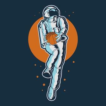 バスケットボールのイラストを保持している宇宙飛行士