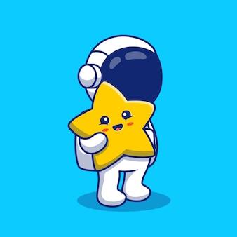 귀여운 스타 만화 아이콘 그림을 들고 우주 비행사입니다. 공간 기술 아이콘 개념 절연 프리미엄. 플랫 만화 스타일
