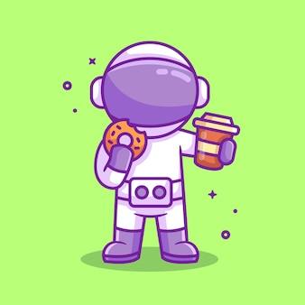 ドーナツとコーヒーを保持している宇宙飛行士漫画ベクトルイラストフラットスタイルの宇宙飛行士イラスト