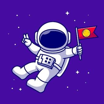宇宙飛行士は、宇宙漫画のアイコンイラストで旗を保持しています。分離されたテクノロジー空間アイコン。フラット漫画スタイル