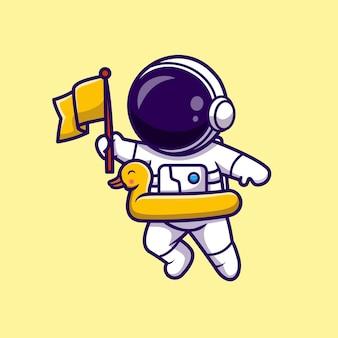 アヒルの風船と旗を保持している宇宙飛行士漫画ベクトルアイコンイラスト。科学の休日のアイコンの概念は、プレミアムベクトルを分離しました。フラット漫画スタイル