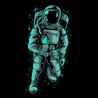 Astronaut holding ice cream illustration