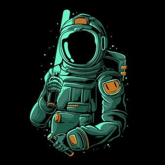 レーザー剣の図を保持している宇宙飛行士