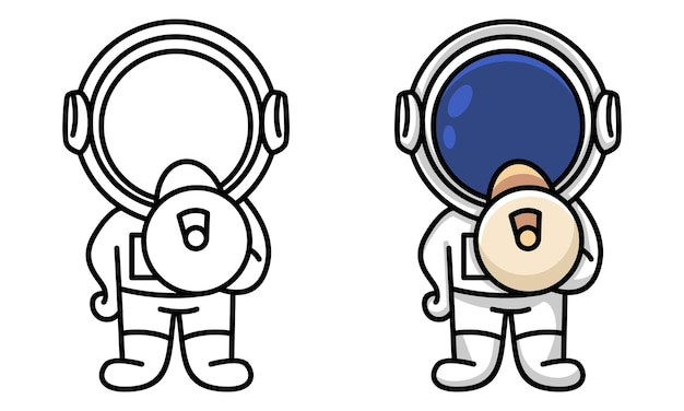Astronaut holding loudspeaker coloring page for kids