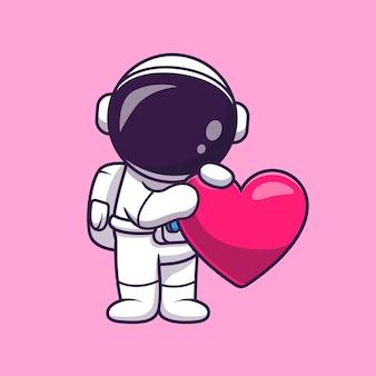 Астронавт держит иллюстрации шаржа сердца любви. концепция технологии науки изолированы. плоский мультяшном стиле