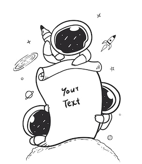 Astronaut holding a piece of information paper