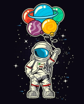 Astronaut holding a planet balloons