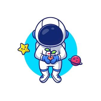 宇宙飛行士は、星と惑星の漫画アイコンイラストと空間で植物を保持しています。人科学アイコンのコンセプトが分離されました。フラット漫画のスタイル
