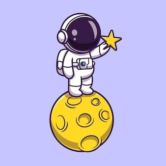 月のイラストで星を保持している宇宙飛行士