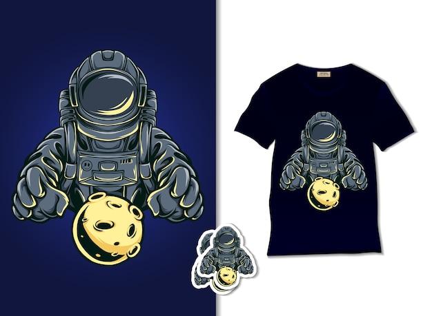 月のイラストを保持している宇宙飛行士