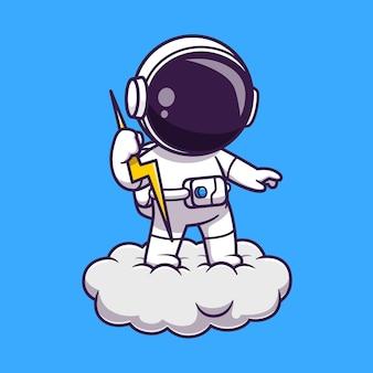 雲の上のサンダーボルトを保持している宇宙飛行士漫画ベクトルアイコンイラスト。科学技術アイコンコンセプト分離プレミアムベクトル。フラット漫画スタイル