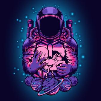 赤ちゃんイラストを保持している宇宙飛行士