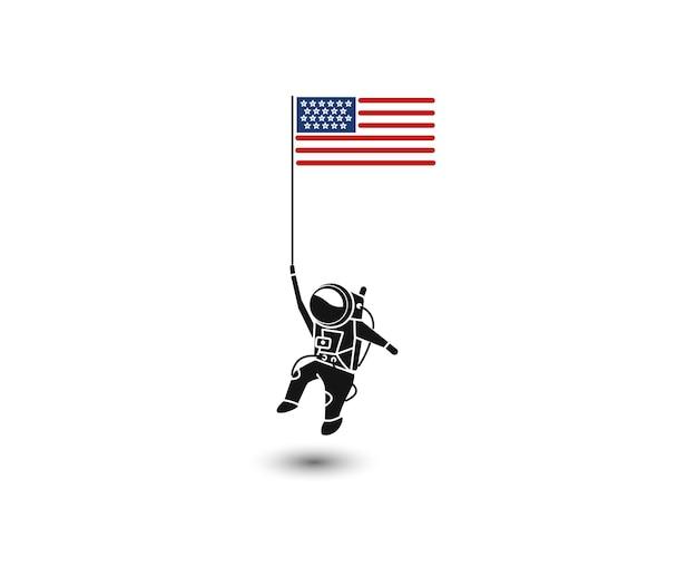 Astronaut holding usa flag flat line art vector design illustration.