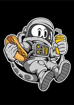 Astronaut hotdog hand drawn illustration