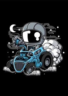 Astronaut hotrod cartoon character