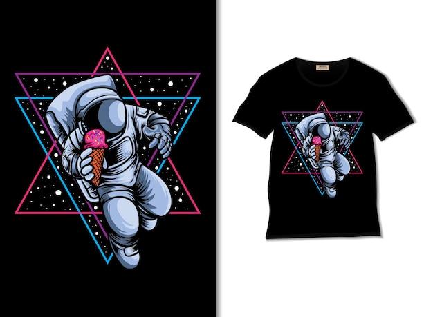 Tshirt 디자인으로 우주 비행사 아이스크림 애호가