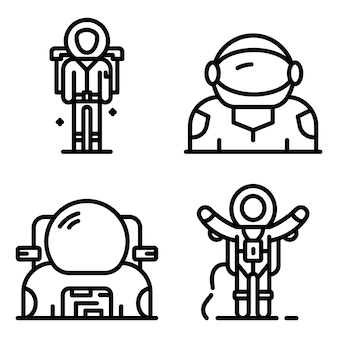 Astronaut icons set, outline style