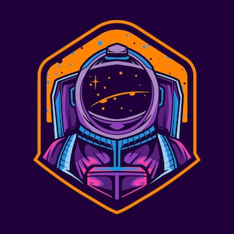 Astronaut illustration   emblem design