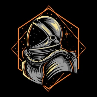 Astronaut illustration with geometry dark