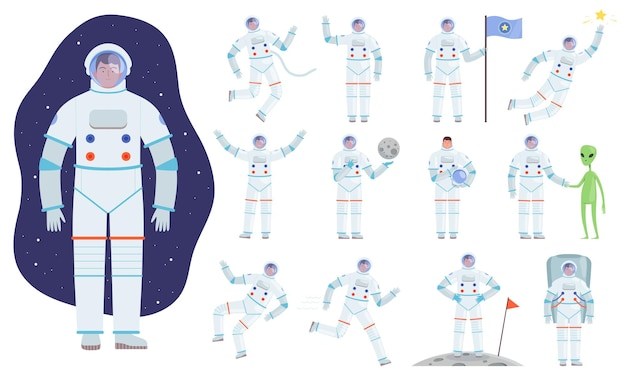 さまざまなポーズの宇宙飛行士。