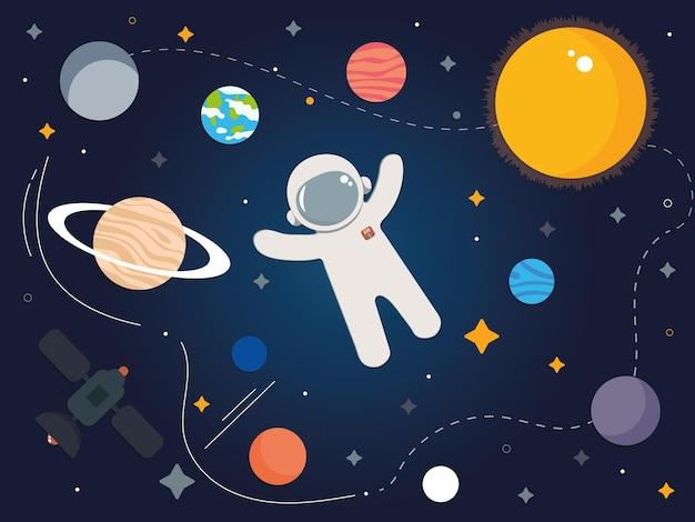 우주복을 입은 열린 공간의 우주 비행사 주변에는 다양한 행성이 있습니다.