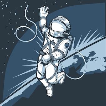 Астронавт в космосе на фоне планеты земля.