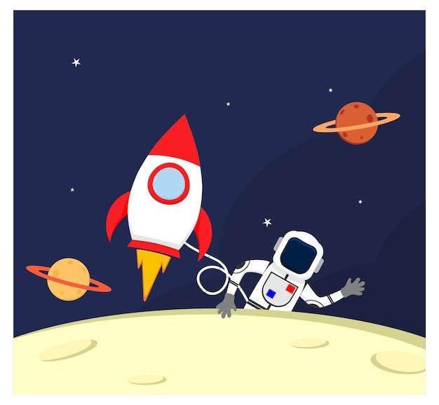 Астронавт в космическом пространстве с плоским космическим кораблем
