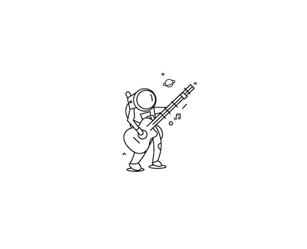 Астронавт в игре на гитаре, рисованной эскиз векторные иллюстрации.