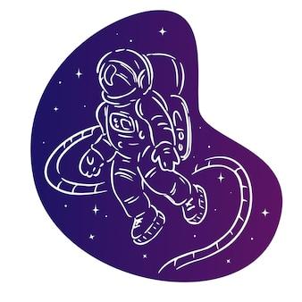 공간 격리 된 그림에서 우주 비행사