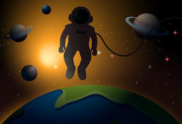 宇宙シーンの宇宙飛行士