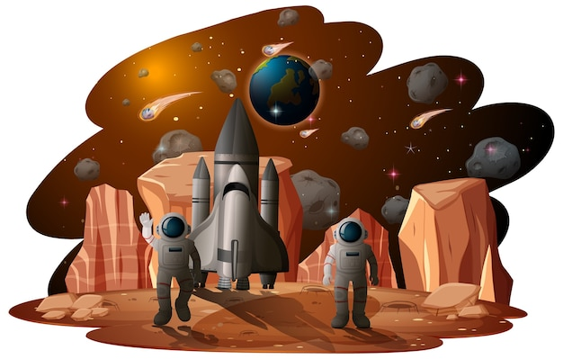 Астронавт в космической сцене