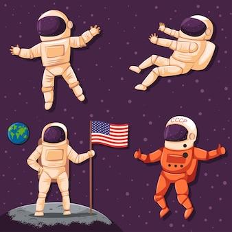 Космонавт в космосе установлен. персонаж космонавта в шлеме и скафандре, изолированных на фоне вселенной.