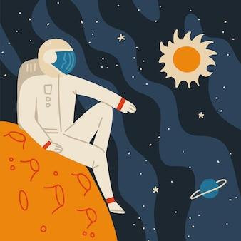 Астронавт в скафандре отдыхает на ландшафте чужой планеты.