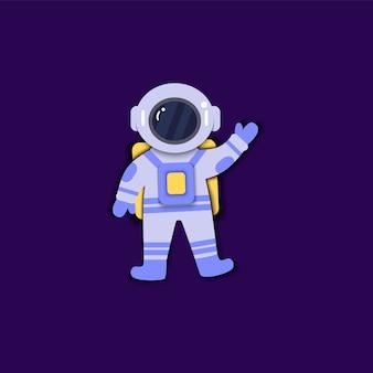 우주복을 입은 우주 비행사는 무중력 종이 아트 스타일로 떠 있습니다.