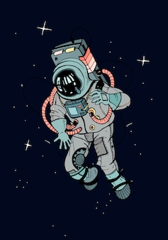 宇宙服の宇宙飛行士。星の暗い背景の空間で宇宙飛行士。カラフルなイラスト。