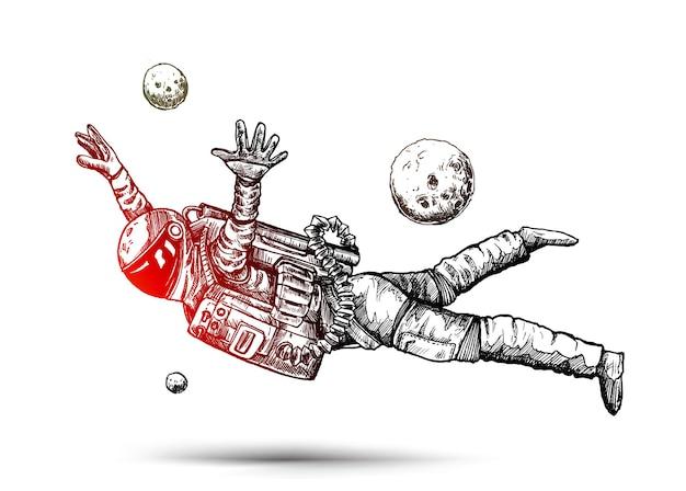 손으로 그린 스케치 디자인 일러스트 레이 션 아래로 떨어지는 우주복에 우주 비행사