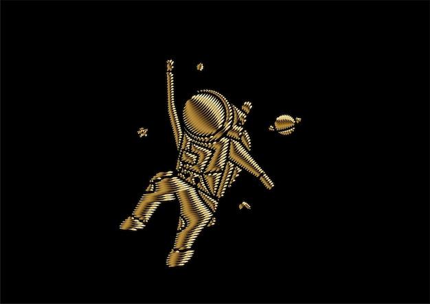 우주복을 입은 우주 비행사, 플랫 라인 아트 디자인 일러스트레이션.