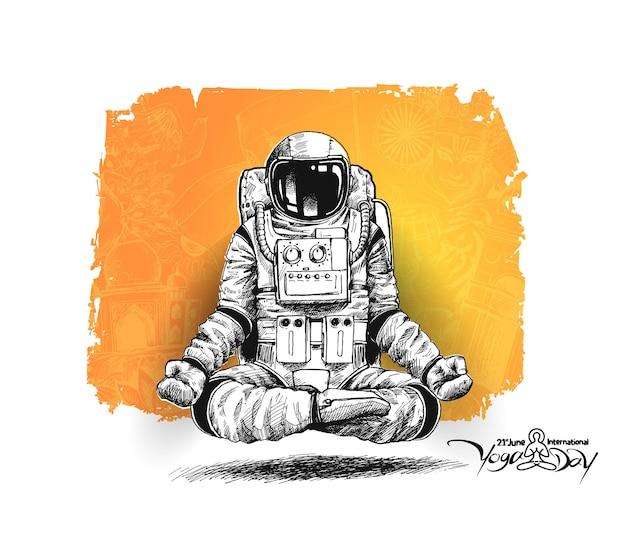 Астронавт в скафандре жестов йоги, рисованной эскиз векторные иллюстрации.
