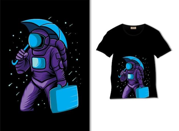 Tシャツのデザインと雨のイラストで宇宙飛行士