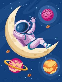 Астронавт в иллюстрации вселенной