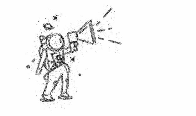 Астронавт объявляет о продаже (объявление) - particle art design illustration.