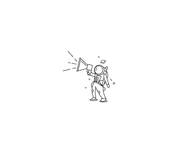 Astronaut is calling for a sale ( announcement ) - flat line art design illustration.