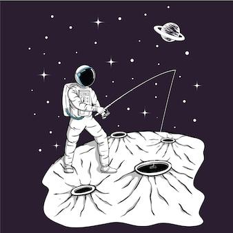 Космонавт ловит рыбу со звездами и планетами