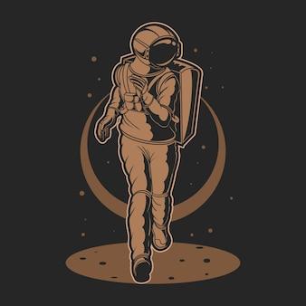 Космонавт, бег на космической иллюстрации