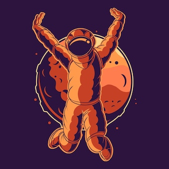 Astronaut jump celebration on space with moon background illustration