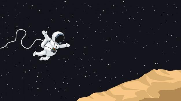 Astronaut jumping on asteroid