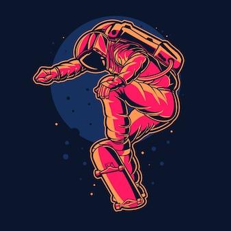 Астронавт прыгает на скейтборде на фоне космической луны